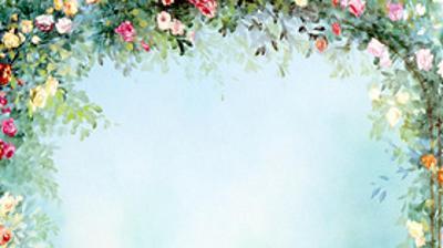 唯美水彩花朵花环PPT背景图片